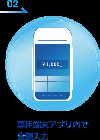 専用端末アプリ内で金額入力