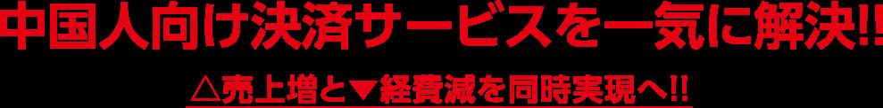 中国人向け決済サービスを一気に解決!! △売上増と▼経皮減を同時実現へ!!